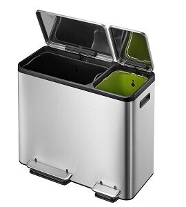 Eko Stainless Steel Recycle 30 Liter+15 Liter (7.9 Gallon+3.9 Gallon) Dual Compartment Step Trash Can EK9128MT30L+15L