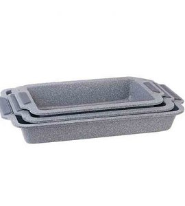 Royal Gourmet Rectangular Bake Pan Set With Silicone Handle 3 Pieces RPS05