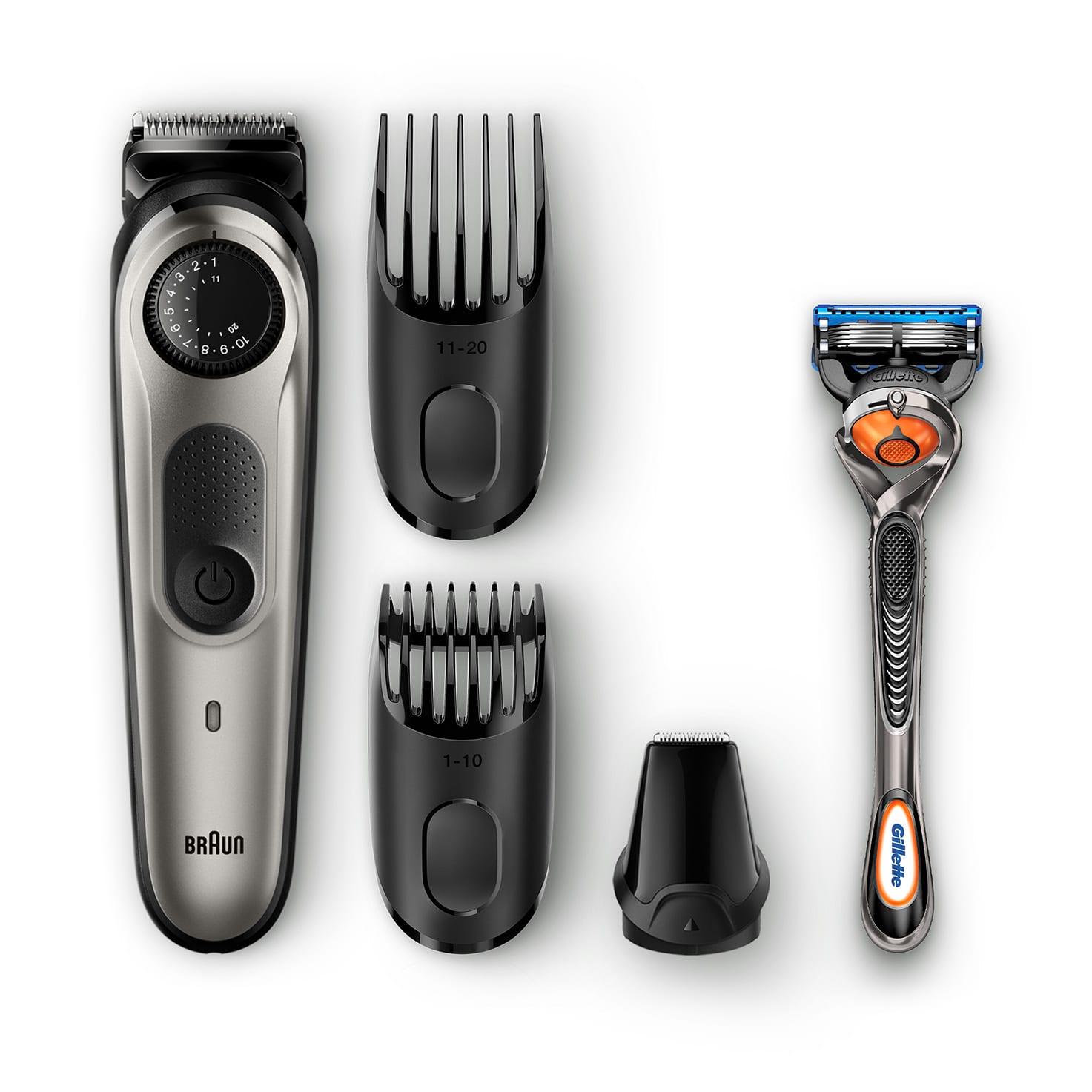 Braun Beard trimmer BT5060 with precision dial, 3 attachments and Gillette Fusion5 ProGlide razor