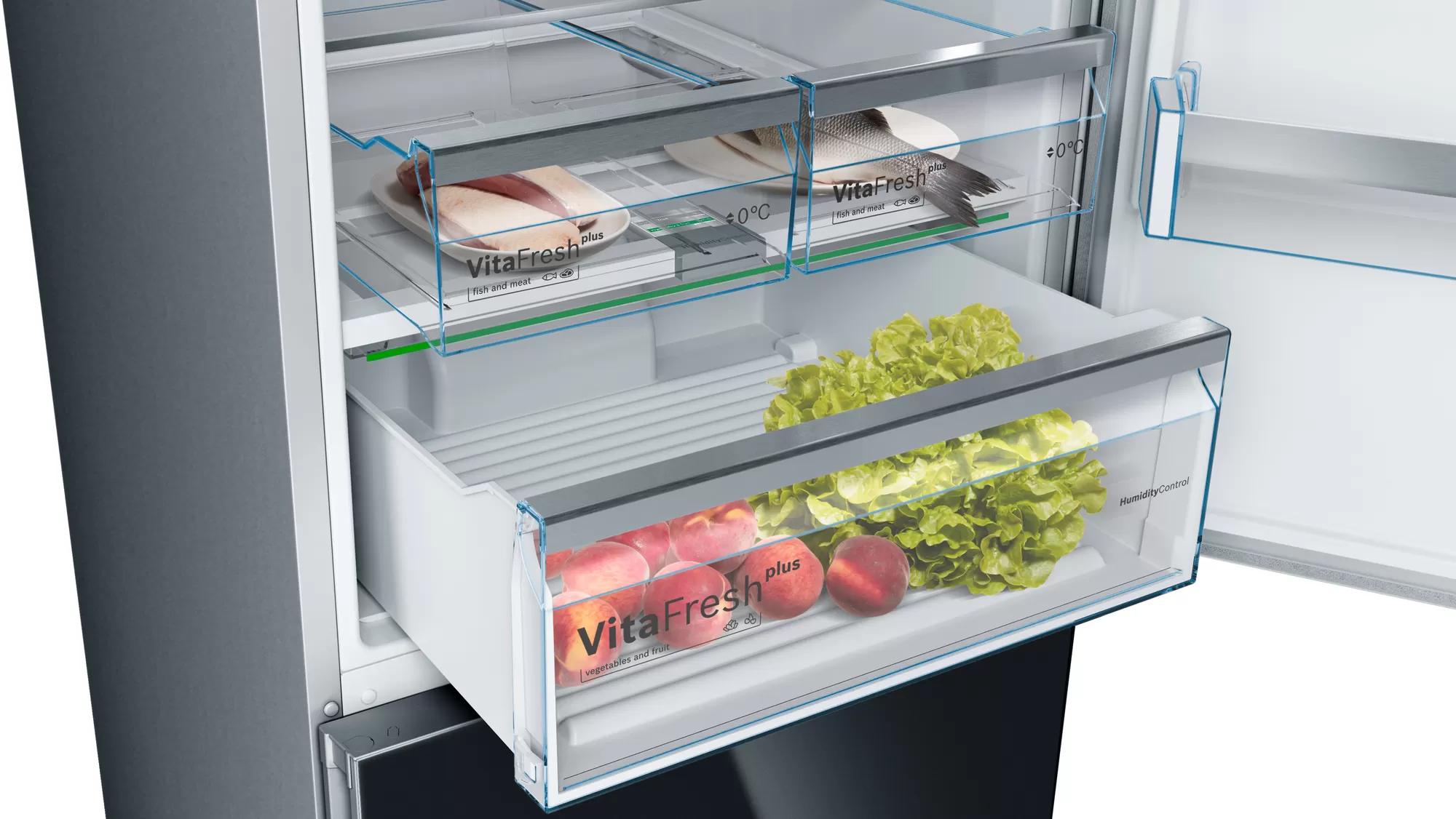BOSCH Serie   6 free-standing fridge-freezer with freezer at bottom Black KGN56LB30U 3