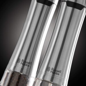Russell Hobbs Battery Powered Salt & Pepper Grinders – Stainless Steel and Silver