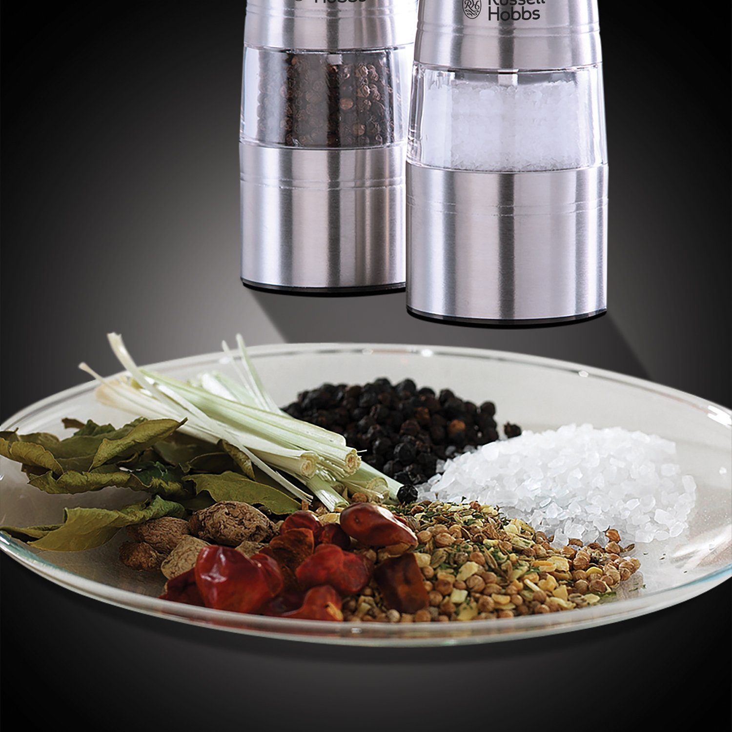 Russell Hobbs Battery Powered Salt & Pepper Grinders – Stainless Steel and Silver 4