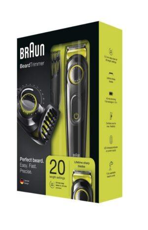 Braun BT3021 Beard Trimmer & Hair Clipper, Black/Volt Green