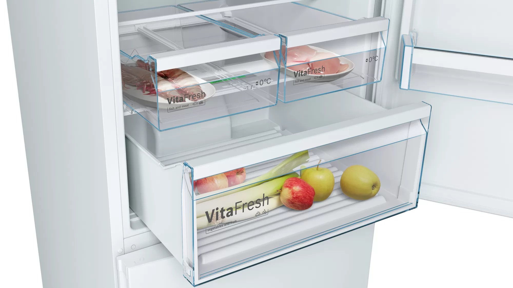 BOSCH Serie | 4 free-standing fridge-freezer with freezer at bottom White KGN56VW30U 6