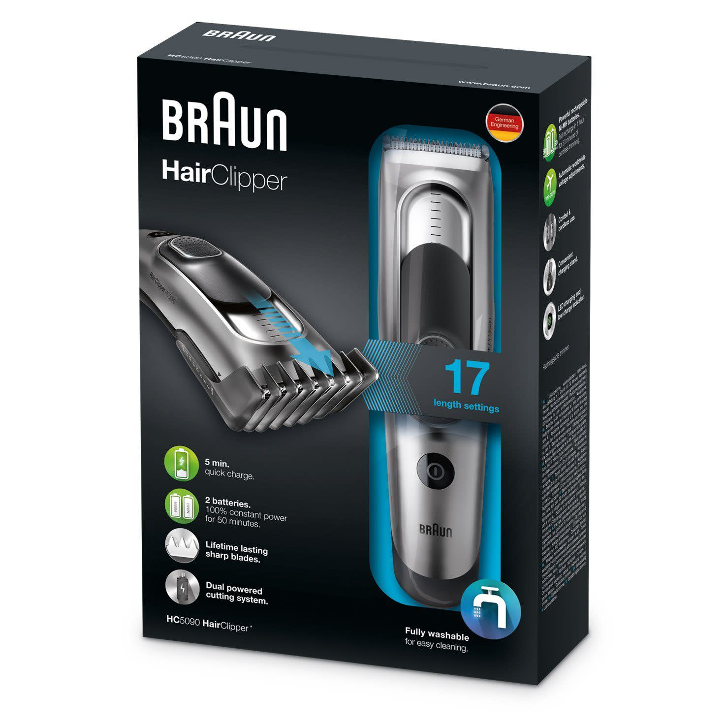 Braun Hair clipper HC5090 with 2 combs for 16 precise length settings, charging stand and pouch