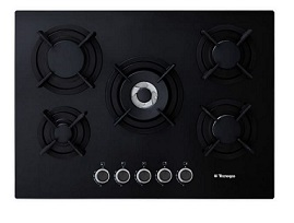 Tecnogas Cook Top 5 burners Black Glass T75BG / PN70GVF5TGB