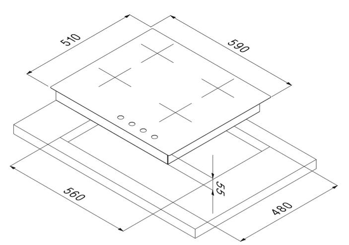 Smalvic Hob 60 cm PS-MF60 3GTC VS GG 3