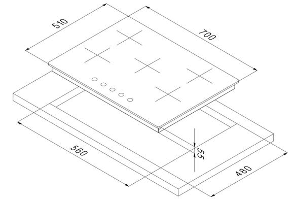 Smalvic Hob 70 cm PC-MF70 4GTC VS GG FLAT 3