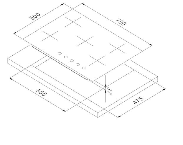 Smalciv Hob 70 cm Grey PI-70 4G+1BDC VS GG 2