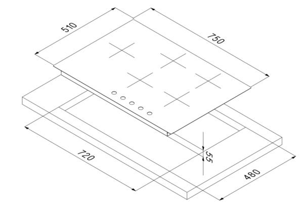 Smalvic Hob 75cm PS-MF75 4GTCS VS GG 2