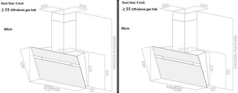 Elica Hood 90 cm Black Wall-mounted Stripe 2