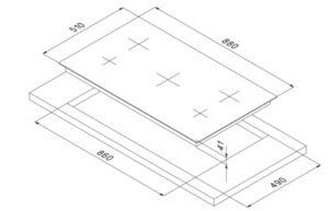 Smalvic Hob 5 Zones HI-LIGHT Vitroceramic Hob PVC-90 3HL+1D+1OV TC 90 cm