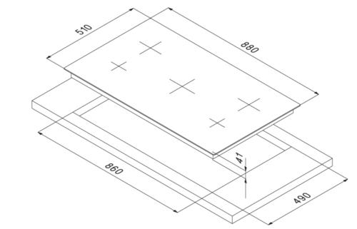 Smalvic Hob 5 Zones HI-LIGHT Vitroceramic Hob PVC-90 3HL+1D+1OV TC 90 cm 2