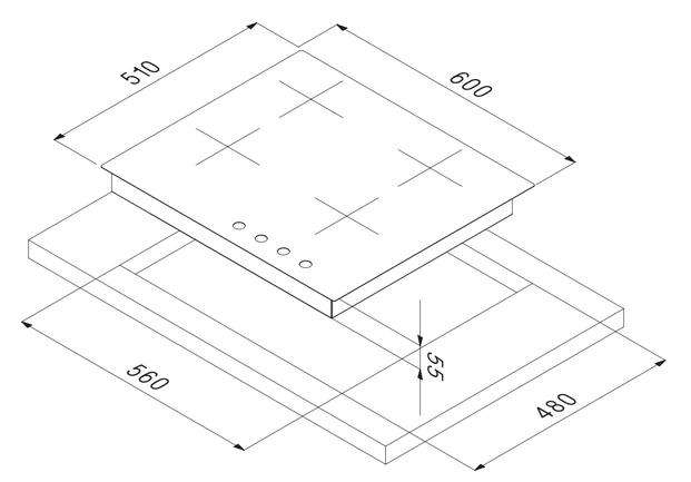 Smalvic FLAT Hob 60 cm PC-M60V3G1TCD3 3