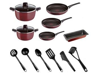 Tefal Pleasure Cookware Set - 14 Pieces Red Aluminium D5059952
