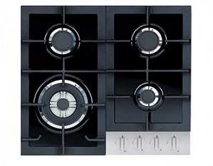 Campomatic Built-In Hob 60CM Black Glass & Stainless Steel C64GXLCS
