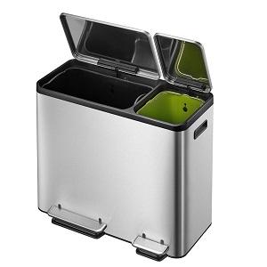 Eko Stainless Steel Recycle 30 Liter+15 Liter (7.9 Gallon+3.9 Gallon) Dual Compartment Step Trash Can EK9128MT30L+15L