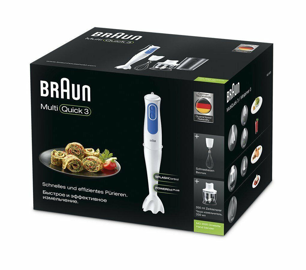 Braun Handmade 3 MQ3025WH Omelette Blender Hand Powerbell plus 700W 7