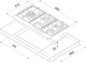 Smalvic Hob 90 cm PS-MF90 4GTCS VS GG