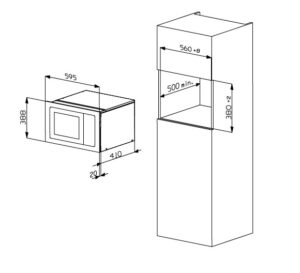 Smalvic Microwave 60 cm Grey AG925BVI