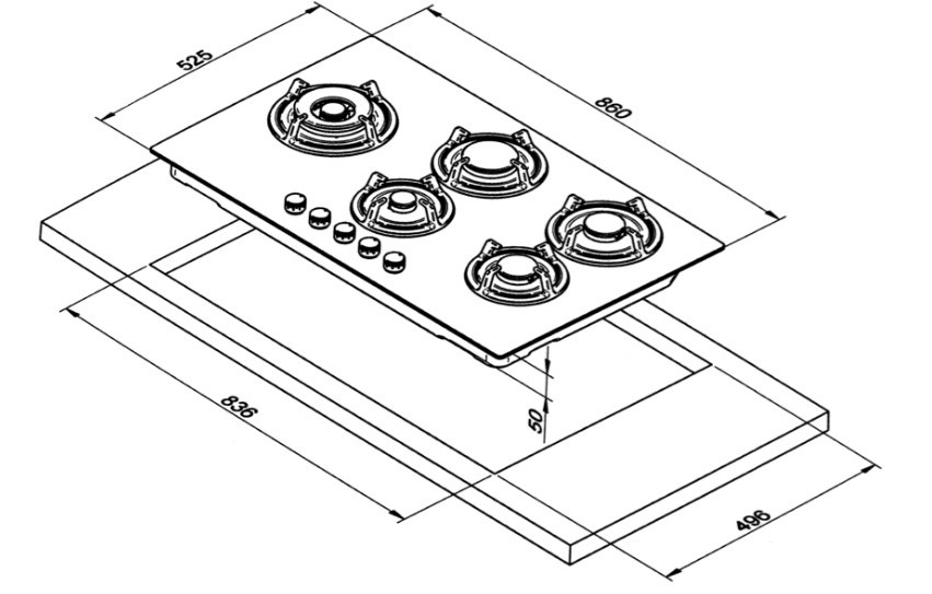 Smalvic Hob 90 CM With Safety Valve White PC-M90V4G1TCD3 2