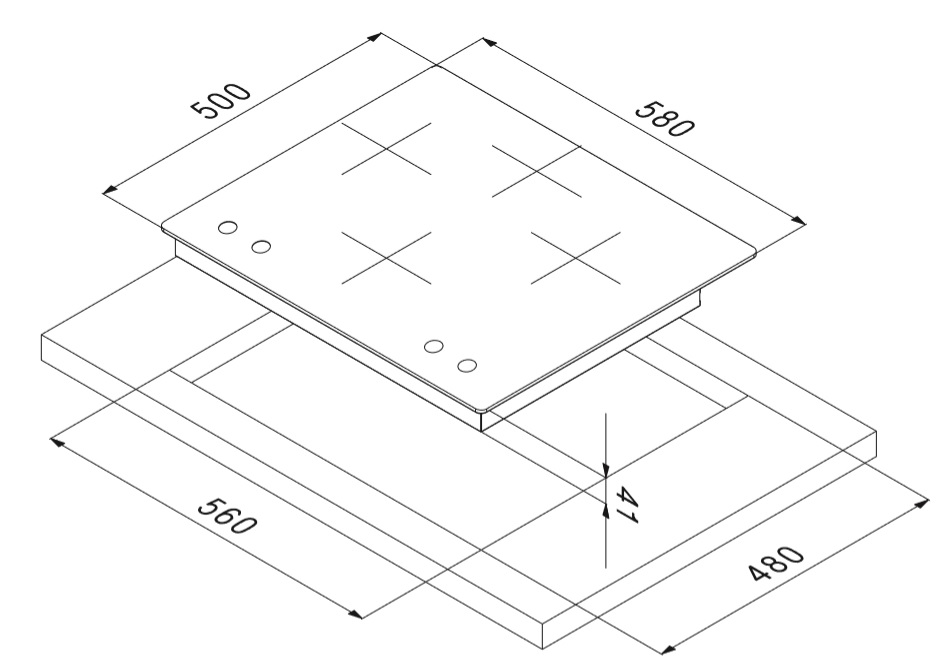 Smalvic Hob 60 cm PD-60 3G+1BDC VS 2